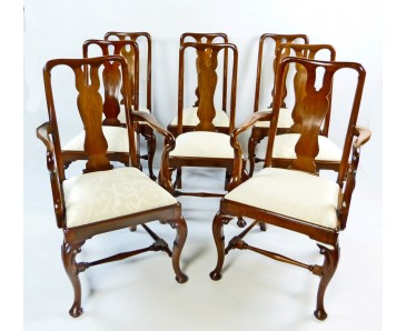 Antique Dining Chair Set of 8 Queen Anne Style