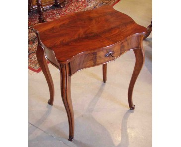 Antique Sewing Table figured Mahogany - German 19C