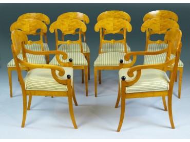 Biedermeier Dining Chairs - Rare set of 10