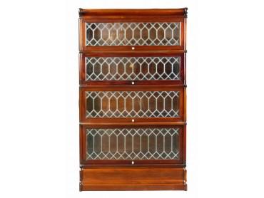 Antique Modular Bookcase Leaded Glass