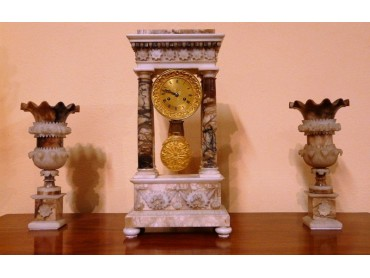 Alabaster Portico Clock with Garniture