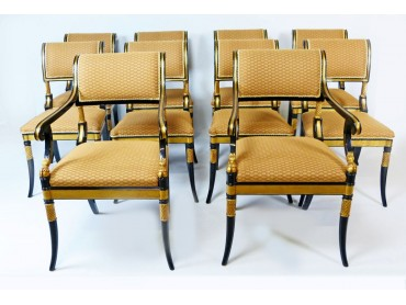 Regency style Dining Chairs - set of 10 - SOLD