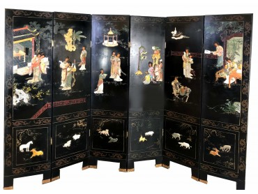 Antique Chinese Screen with 6 Panels