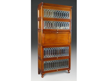 Globe Wernicke type Secretaire Bookcase with Leaded Glass Modules