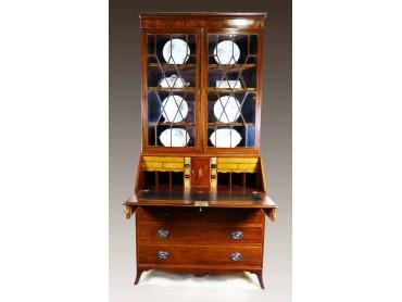 Antique Sheraton Bureau Bookcase - End 19th Century