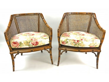 Pair of Bergères with Caned Backs and Faux Bamboo frames