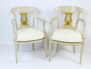 Swedish Biedermeier Painted Armchairs - 19th Century