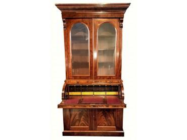Antique Bureau Bookcase with Cylinder Top