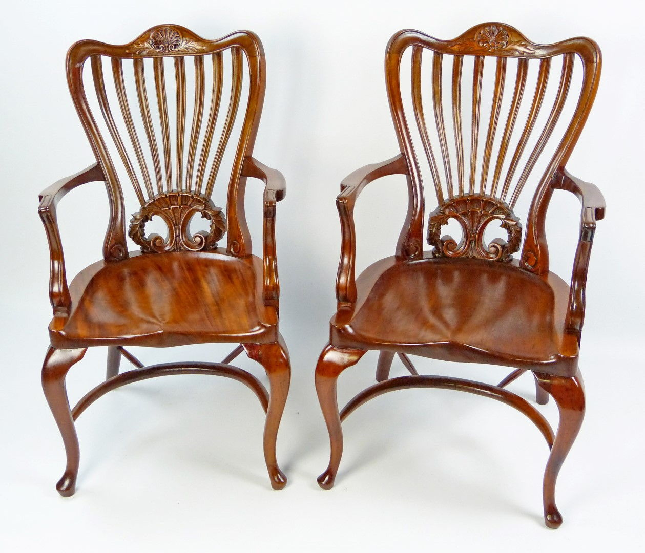 Antique Armchairs   Carved Cherrywood   SOLD