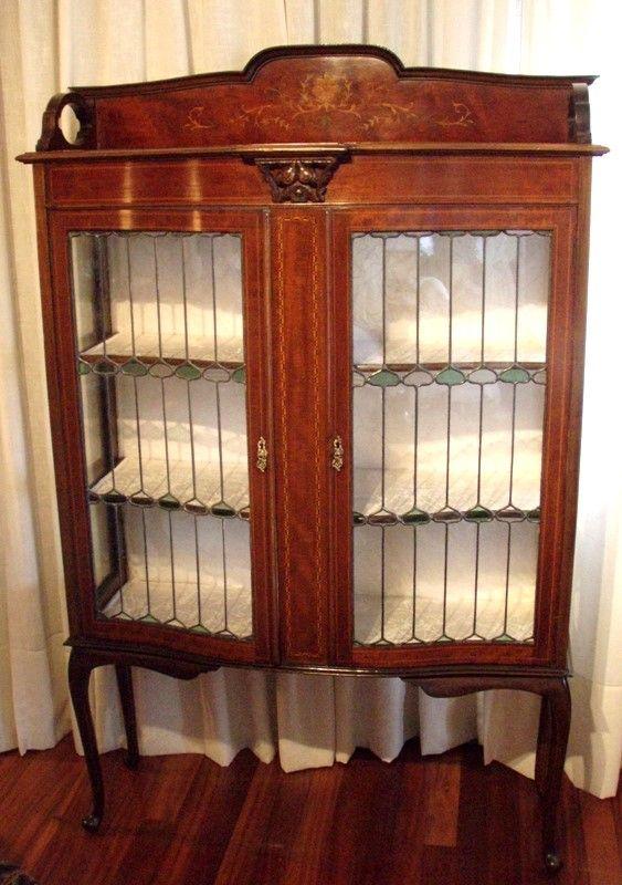 Antique Victorian Display Cabinet   2 Leaded Glass Doors