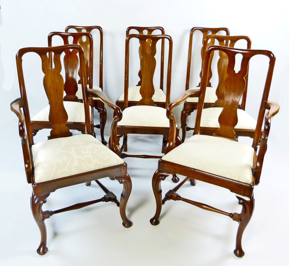 Antique Dining Chair Set of 8 Queen Anne Style - Antique Furniture Antique Cupboards Antique Tables Antique