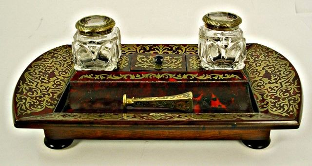 Antique Desk Set In Boulle Marquetry Over Tortoise S Stamped Leuchars