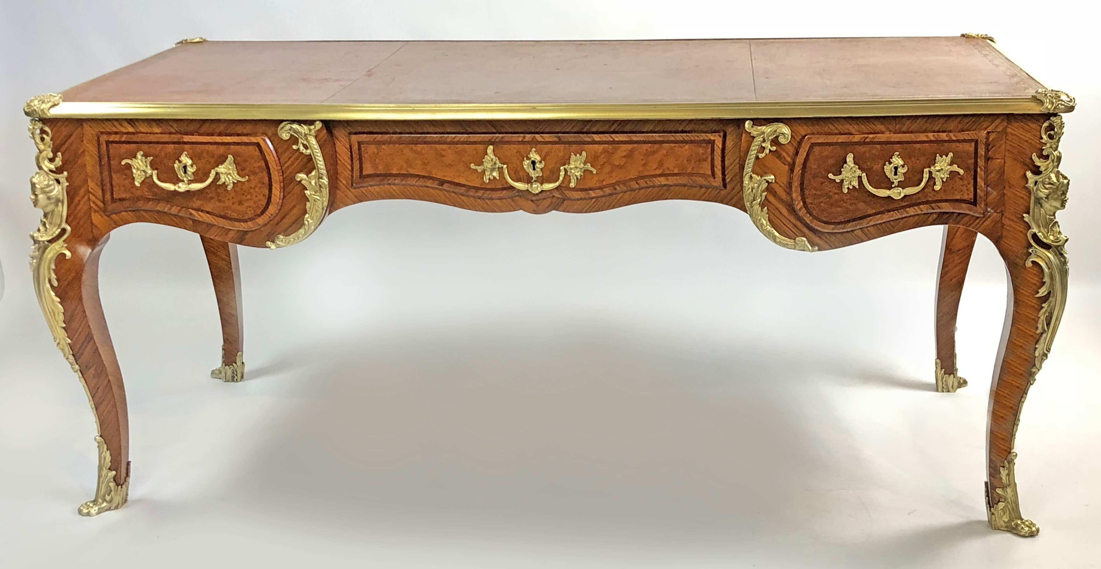French style louis xv style bureau plat desk