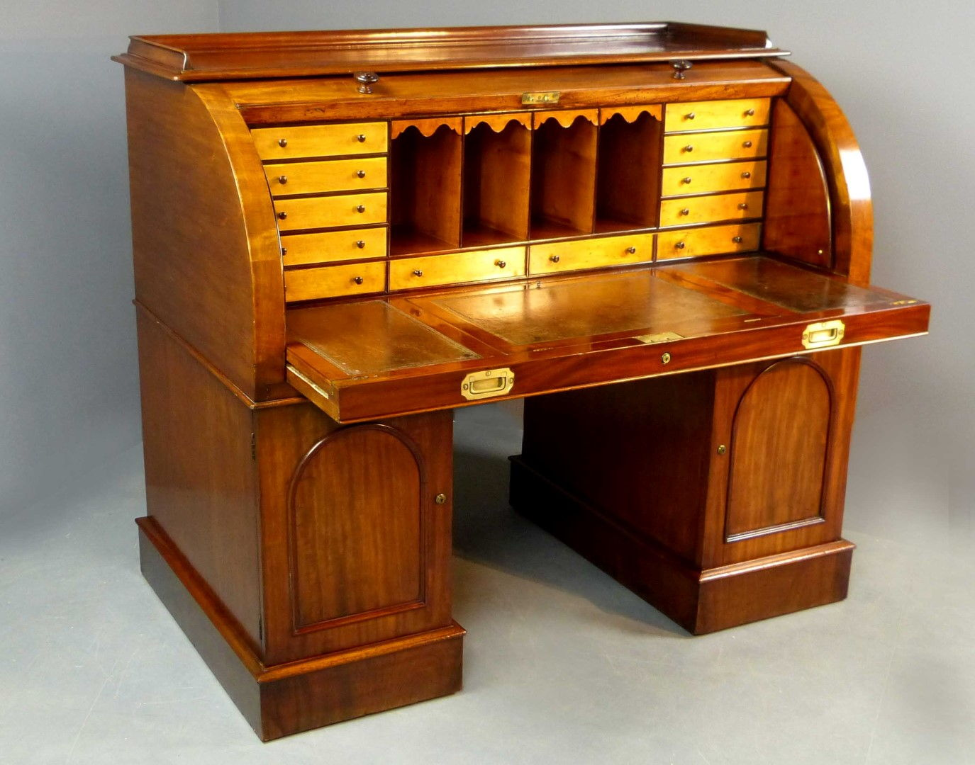 Antique Desk Cylinder Top x-Sir Stafford Cripps - Antique Furniture Antique Cupboards Antique Tables Antique
