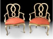 Pair of Armchairs Early 19th Century Italian Polychromed and Part Gilt - ON HOLD