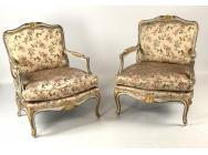 Pair of French Polychromed Armchairs - Louis XV style