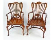 Antique Armchairs - Carved Cherrywood