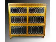 Antique Modular Bookcase with 3 Leaded Doors - SOLD