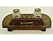Antique Desk set in Boulle Marquetry over Tortoise Shell - stamped LEUCHARS