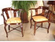 Antique Pair of Edwardian Corner Chairs