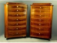 Pair of Biedermeier Tall Commodes