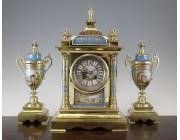 Antique French Clock Garniture - Painted Porcelain with Ormolu.