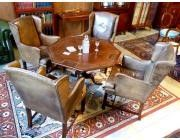 ANTIQUE GAMES TABLE WITH SET OF 4 SMALL CHESTERFIELD  ARMCHAIRS