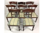 Antique English Dining Table with 8 Chairs