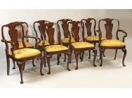 Queen Anne Mahogany Set of 8 Dining Chairs - SOLD