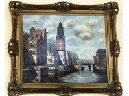 Amsterdam  - Antique Oil Painting Signed