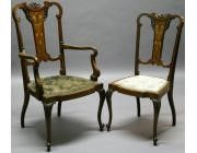 Edwardian Set of Chair and Armchair with Ivory Marquetry