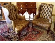 Antique Chesterfield Wingchairs in original 200+ year old Leather