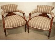 Low armchairs in Rosewood with Marquetry - SOLD