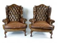 Chippendale Chesterfield Wing Chairs